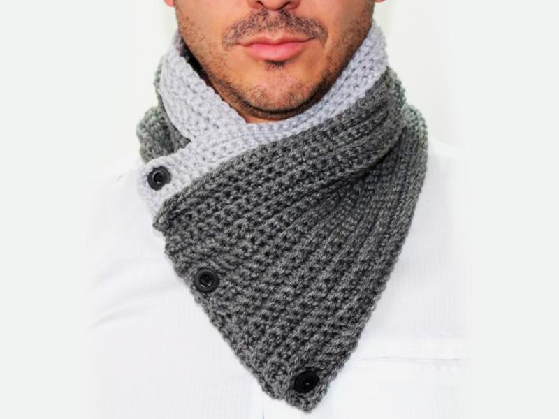 909b577500e74 Cubrecuello tejido para caballero en técnica crochet a mano con lana  antialérgica (acrílico) y